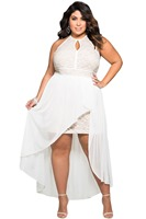 2016 Stylish Lace Special Occasion Plus Size Dress Big Size XXXL LC61037 Summer Style White Dresses