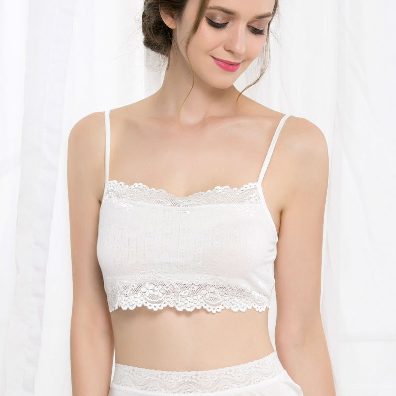 Women Tube Top 100% Natural Silk and Lace Bandeau Adjustable Shoulder tape New Healthy Underwear Beige Black White