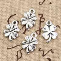 15 Uds. Amuletos trébol de cuatro hojas irlandés de la suerte 17x11mm antiguo para hacer colgantes, bronce de plata tibetana Vintage, joyería hecha a mano DIY