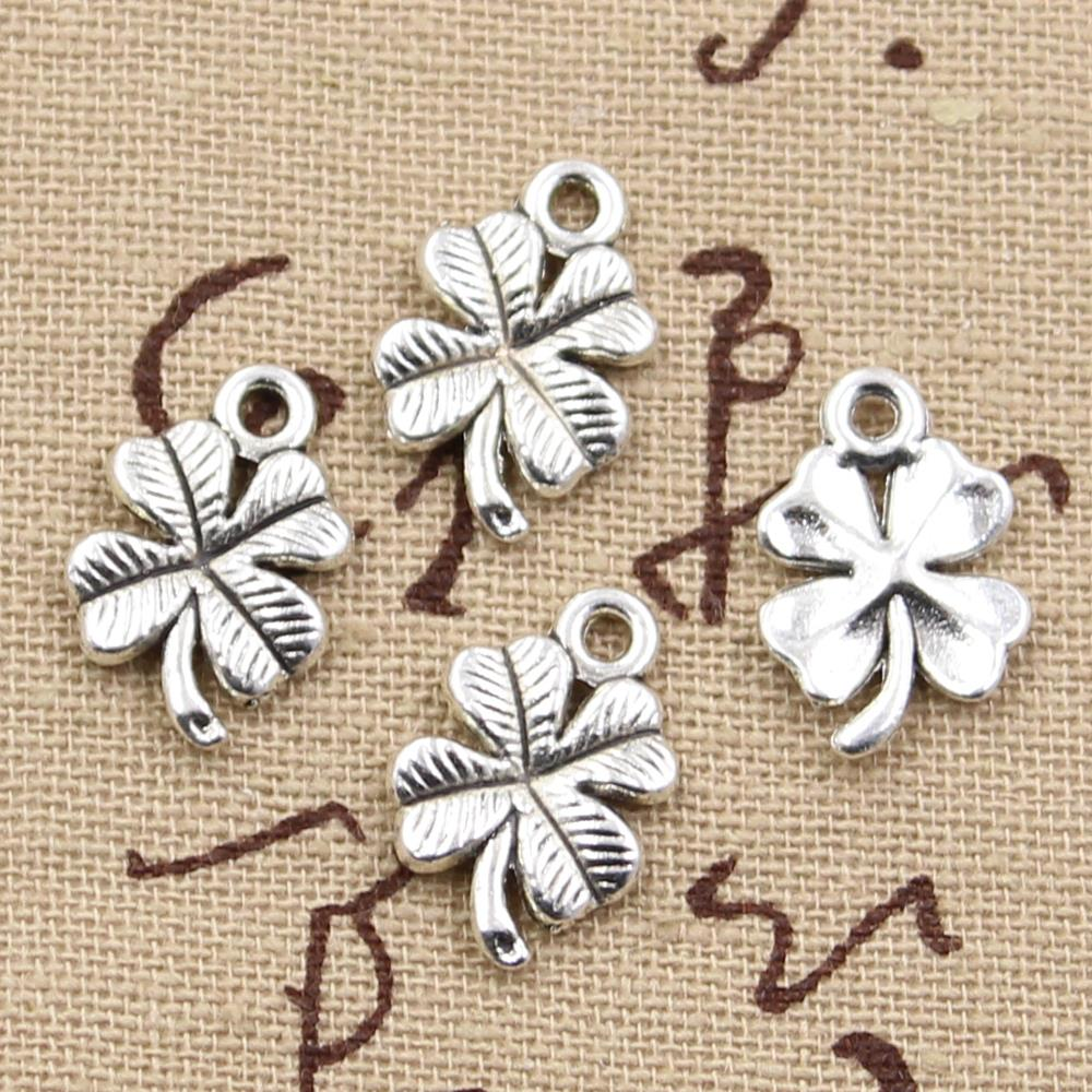 15pcs Charms lucky irish four leaf clover 17x11mm Antique Making pendant fit,Vintage Tibetan Silver Bronze,DIY bracelet necklace