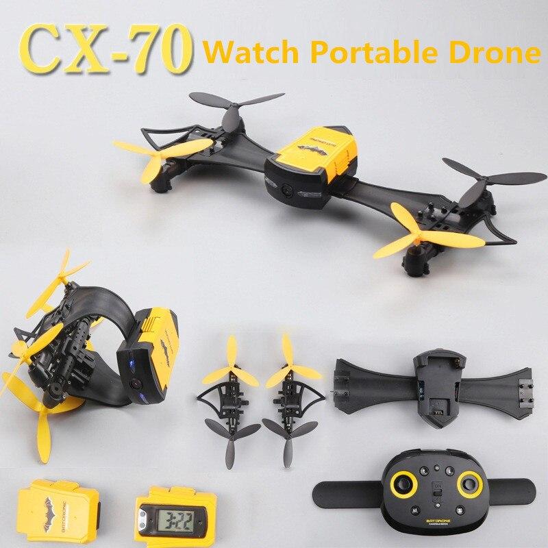 Le plus nouveau Drone pliable pliable portatif de CX-70 de quadrirotor de WIFI FPV Rc de vol avec le jouet de montre d'appareil-photo de HD