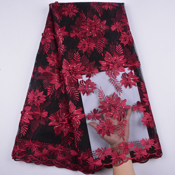 Nigerian Tulle Lace Fabrics For Wedding Dress African French Lace Fabric High Quality Embroidery Tulle Lace 5 Yards A1346
