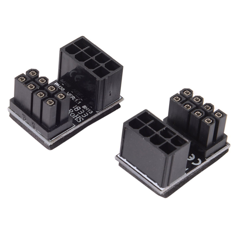 Atx 8pin Male 180 Degree Angled To 8pin Female Power Adapter For Desktops Image Card