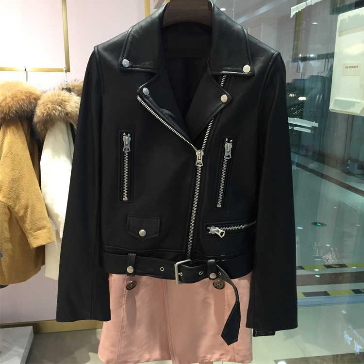 FTLZZ nowa jesienna damska kurtka ze skóry sztucznej kobieta zamek błyskawiczny pas krótki płaszcz kobieta czarny Punk Bomber Faux Leather znosić