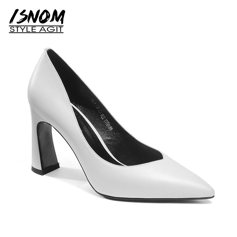 ISNOM 2018 New Autumn High Heels Women Pumps Genuine Leather Shoes Pointed Toe Footwear Office Fashion