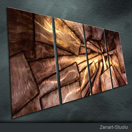 Original Metal Wall Art Abstract Painting Sculpture Indoor Outdoor Decor-Zenart Art