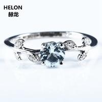 Women Engagement Wedding Ring Solid 14k White Gold Natural Aquamarine Genuine Diamonds Cute Romantic Fine Jewelry