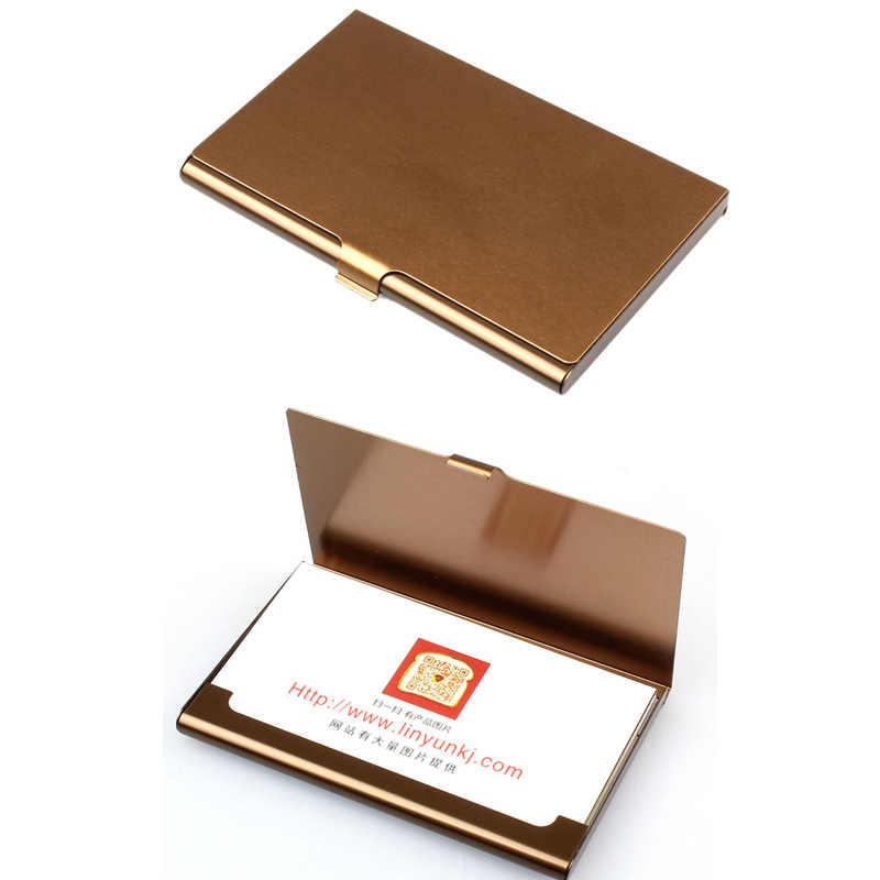 Funda de tarjeta de visita creativa de acero inoxidable soporte de aluminio tapa de caja de metal crédito hombres tarjeta de visita titular de la cartera de metal