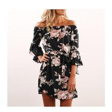 Summer Women's Playsuits Beach Floral Boho Jumpsuits Loose Printing Sexy Off the Shoulder Flare Sleeve Playsuits Overalls GV653