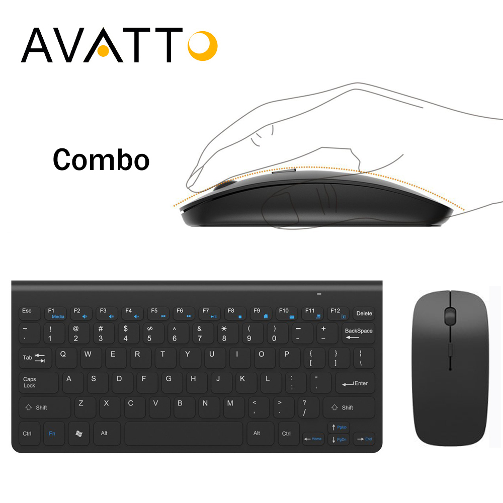 AVATTO Slim 1 receptor USB de 2,4 GHz Mini teclado inalámbrico y ratón óptico Combo para escritorio la PC de la computadora portátil inteligente TV