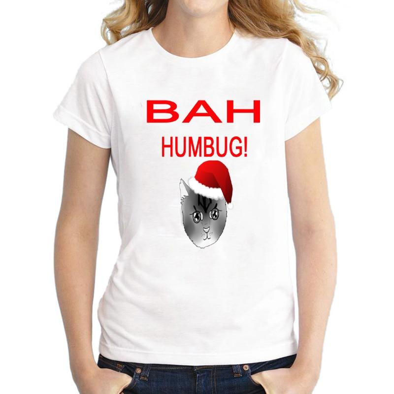 Funny Bah Humbug Cat Print Christmas T Shirt for Women Cute Girls Top Tee Short Sleeve Plus Size S-XXXL