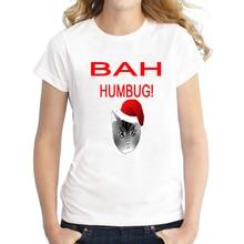 Funny Bah Humbug Cat Print Christmas T Shirt for Women Cute Girls Cat Christmas Top Tee Short Sleeve Plus Size S-XXXL