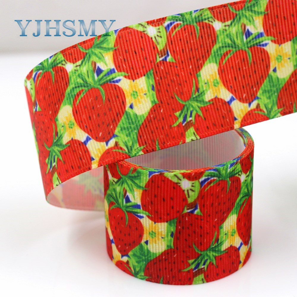 YJHSMY,G-181017-1419,38mm 10yards Fruit strawberry Thermal transfer Printed grosgrain Ribbons,DIY Handmade wrapping materials