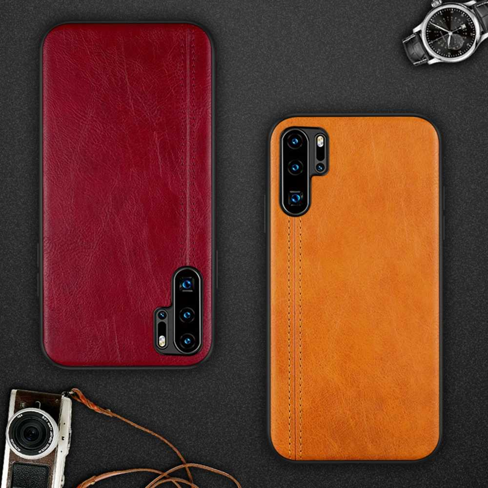 Eqvvol New Leather Case For Huawei P30 P20 Pro Ultra Thin Retro PU Case Cover For Huawei Mate 20 10 Pro Soft Edge TPU Case Coque