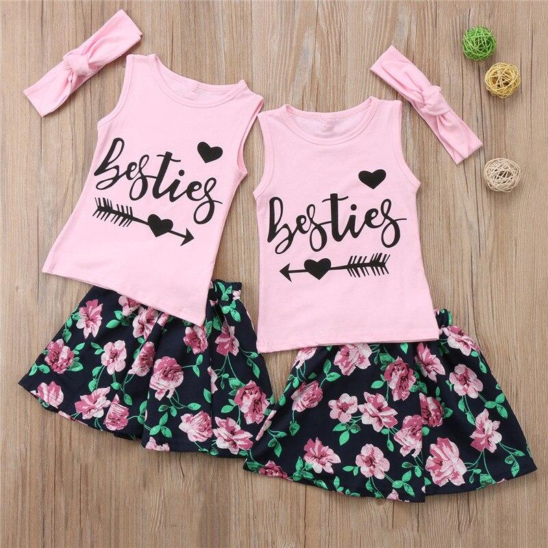 3 шт. 2018 модная детская одежда комплект одежды для маленьких девочек для девочек BFF футболка Топы + юбка с цветочным рисунком для маленьких де...