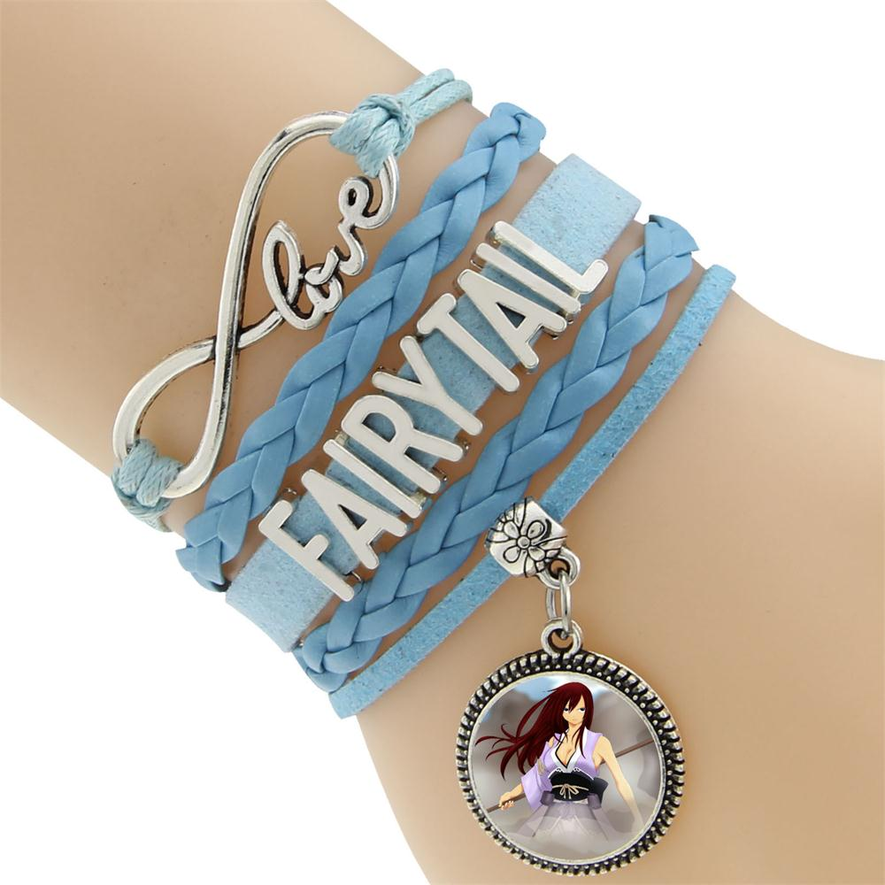 Charm Bracelet Jewelry: Fairy Tail Leather Charm Bracelet Bangle
