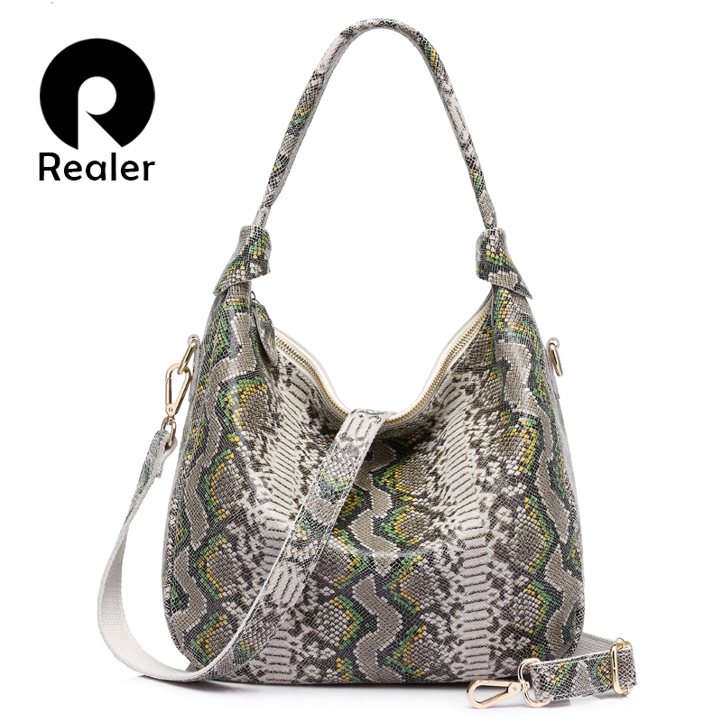 REALER New Arrive Fashion  Women Genuine Leather  Serpentine Pattern Leather Tote Bag Large Capacity Casual Ladies Shoulder Bags