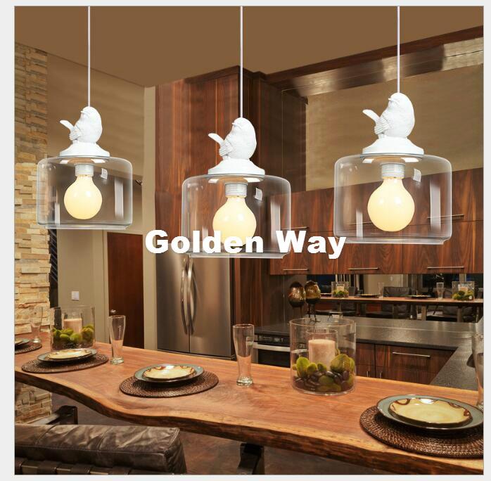 Nordic Bird Modern Light Pendant Lamp Decor Dining Room Living Room Suspension Fixtures Glass Lampshade Resin Bird Lamp Fixture