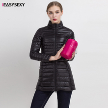 iEASYSEXY Solid Ultra Light Down Jacket Female 8 Colors Women's Winter Jacket New Long 90% White Duck Down Abrigo Mujer Invierno