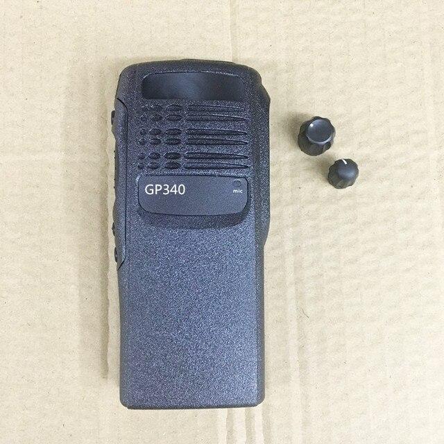 Honghuismart la coque du boîtier avant pour motorola GP340 talkie walkie avec 2 boutons, verrouillage du haut parleur, étiquettes, plaque, couvercle anti poussière