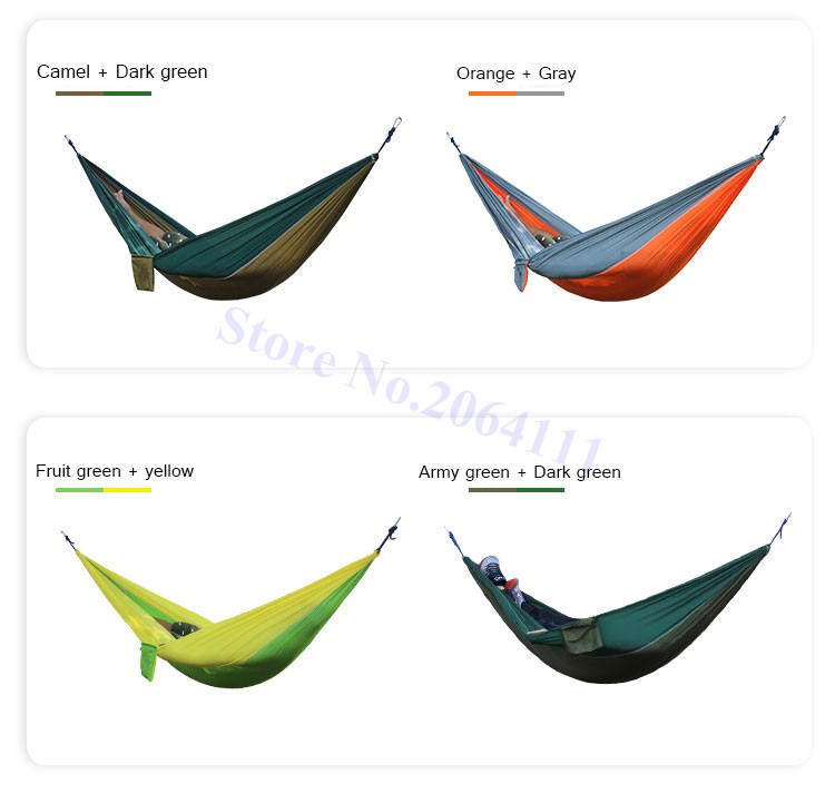 Outdoor double Hammock Portable Parachute Cloth 2 Person hamaca hamak rede Garden hanging chair sleeping travel swing hamac 5