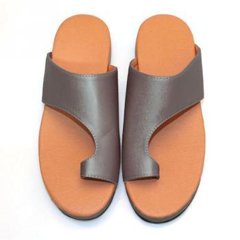 fe3d62ce Zapatos de cuero de PU para mujer plataforma cómoda suela plana señoras  Casual suave Pie Grande corrección sandalia ortopédica Bunion Corrector
