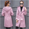 Spring and winter new woolen woolen coat in the long section of women's cotton thickening Slim waist was thin hooded jacket