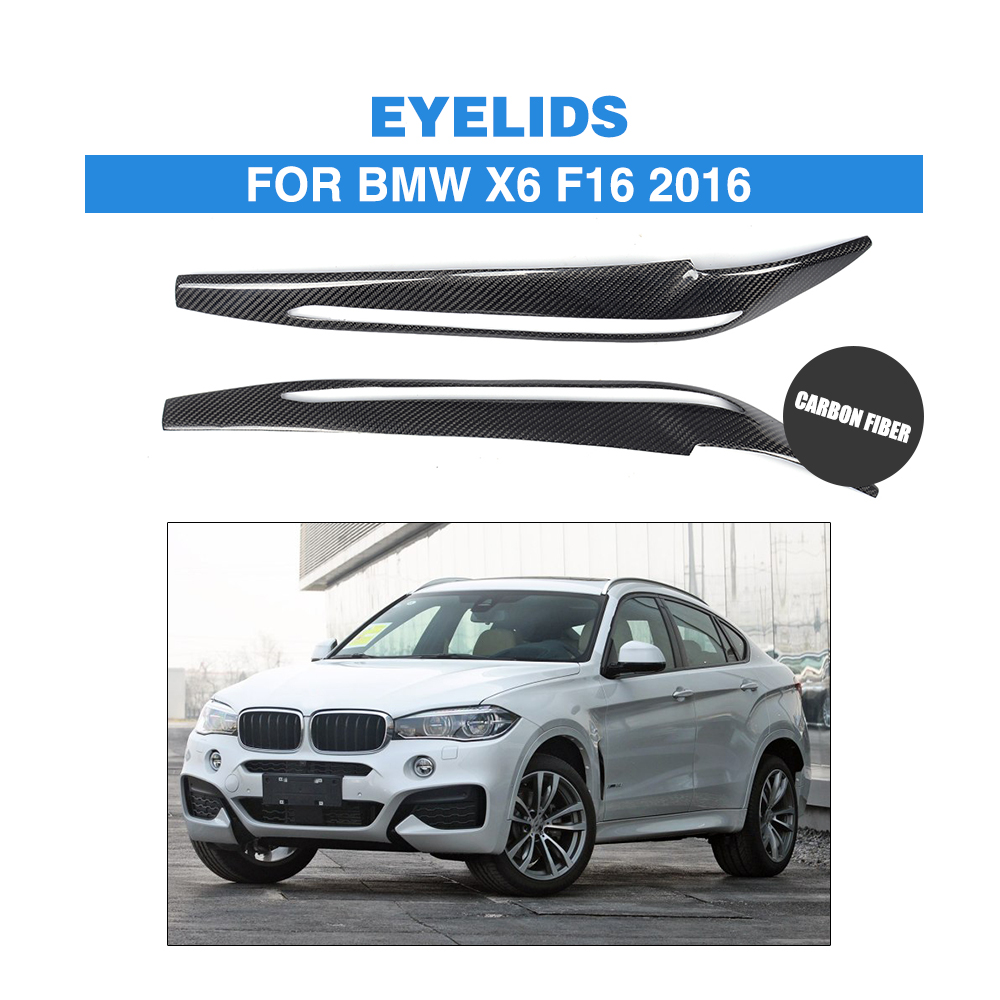 2PCS/set Carbon Fiber Front Headlight Eyebrows Eyelids For BMW X6 F16 2016 Car Trunk Trim Sticker Headlamp covers