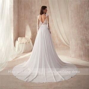 Image 4 - V neck Sheer Bodice Lace Applique Beach Chiffon Wedding Dresses Long Sleeves Open Back White Bridal Dress Vestido De Noiva