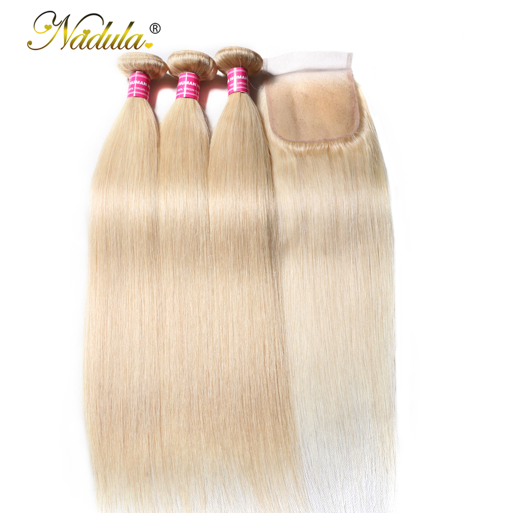 Nadula Hair Weaves 3 Bundles Straight Bundles With Lace Closure Brazilian Hair Extensions 100 Human Hair
