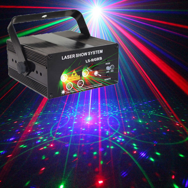 цена на Red Green Blue Stage Light Projector Disco Party Music Dance Led Lights RGB Sound Activated Night Club DJ Lighting