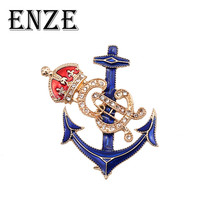ENZE Fashion New Ladies Jewelry Zinc Alloy Beautiful Sea Anchor Crown Red  Blue Brooch For Woman