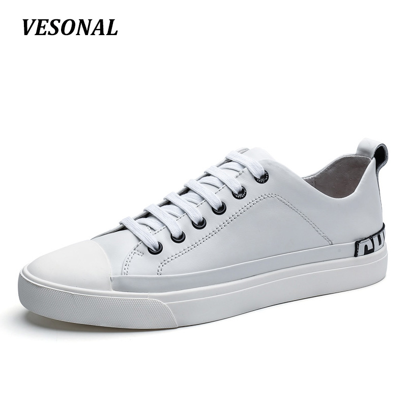 VESONAL New Mens Shoes Casual 100% Genuine Leather Flats Letter Print Men Shoes Fashion Patchwork Designer Breathable SD7089