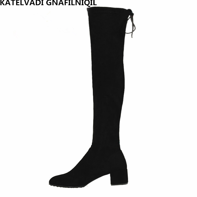 Snow Shoes Women Over The Knee Boots With Fur Black Thigh High Boots Ladies Thick Heel Comfortable Stretch Winter Boots FS-0147 qiu dong in fashionable boots sexy and comfortable women s shoes the new national style high heel heel thick heel