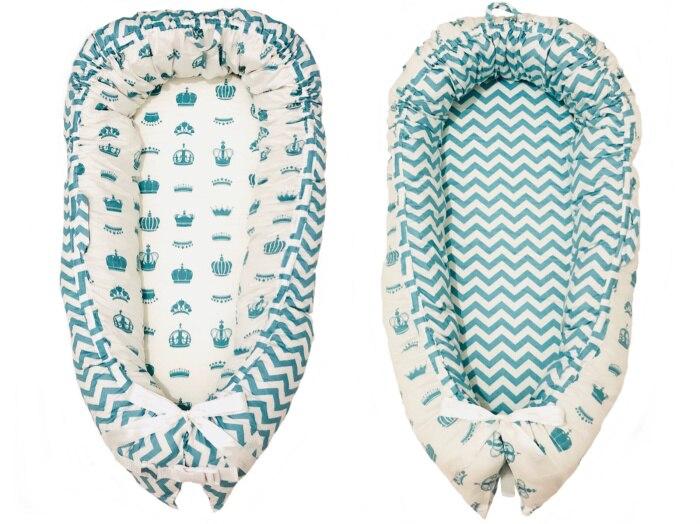 Разборные Детские гнезда кровать или малыша Размер гнезда, мята и совы, портативная кроватка, co спальное место babynest для новорожденных и малышей - Цвет: blue stripe crown