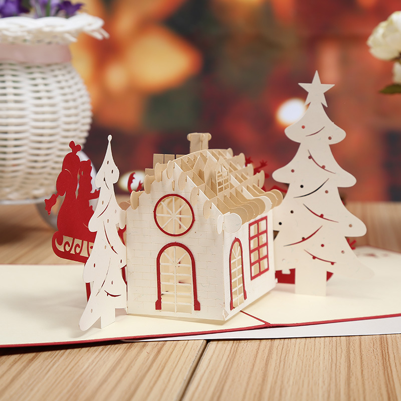 Manufacturers selling Christmas card Christmas card paper house stereo creative new year greeting cards can be customized the construction of taj mahal tourism 3d cubic life manual paper card card creative stereo