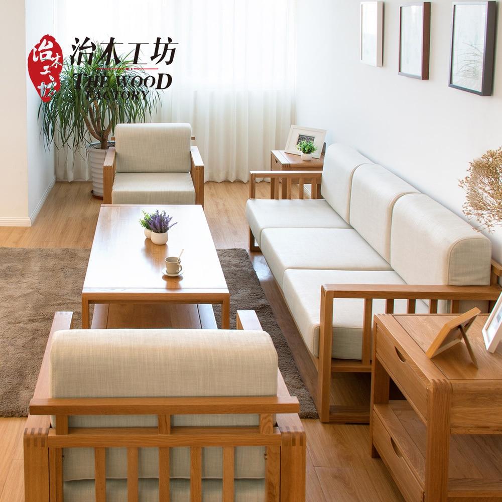 Importó roble blanco de madera sólida sofá sofá de tres simple sofá ...