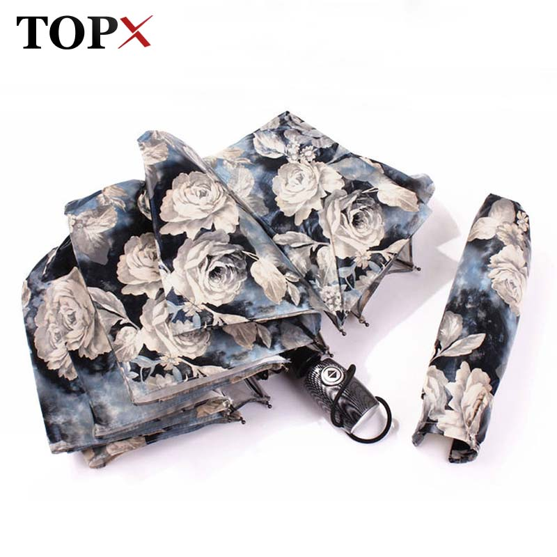 TOPX Strong Wind Creative Retro Pattern Beautiful Painting Women Rose 3-Folding Automatische Paraplu Zonnige en regenachtige paraplu
