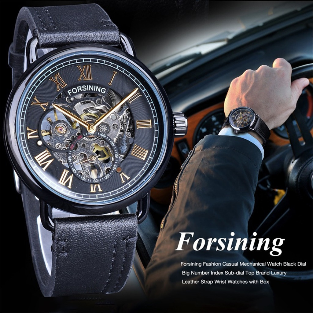 New Fashion Mens Watches Top Brand Luxury  Hollow Big Dial Quartz Watch Leather Waterproof Sport Chronograph Watch Men LD