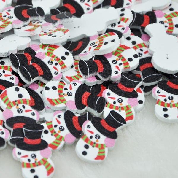 50 шт. Смешанные 2 отверстия Рождественский Снеговик смешанный деревянный Рождество Дерево Швейные пуговицы ручной работы Скрапбукинг для детской одежды WB82