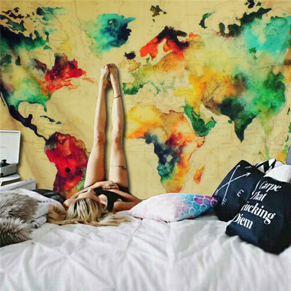 Cilected Retro Watercolor World Map Tapestry Colorful Map Tapestry ...