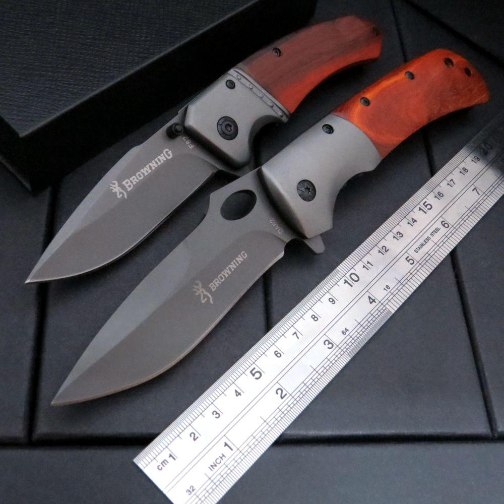 Valiente luchador cuchillo plegable DA62 F82 caza Camping cuchillo herramienta de supervivencia Dcbear cuchillo de acero + mango de madera cuchillos EDC herramienta