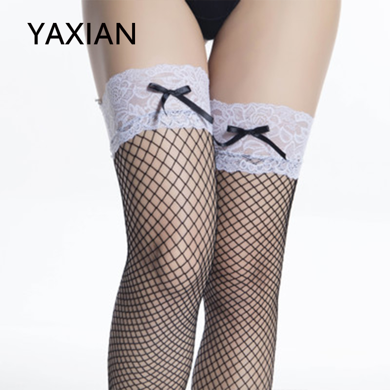 Maid wear Bow Sexy Long tube Fishnet <font><b>socks</b></font> black High <font><b>socks</b></font> 2018 NEW Women Over <font><b>knee</b></font> <font><b>socks</b></font> <font><b>kawaii</b></font> japanese White lace Christmas image