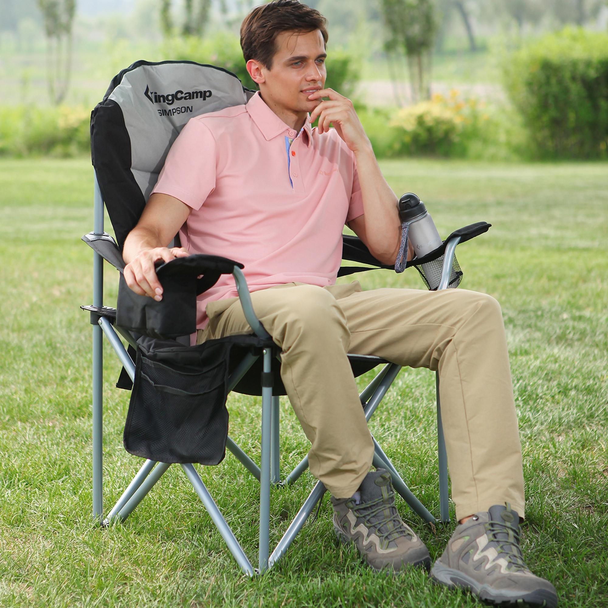 KingCamp léger tabouret pliant siège de pêche Portable Camping soutien lombaire forte Stable lourd chaise de Camping pour l'extérieur