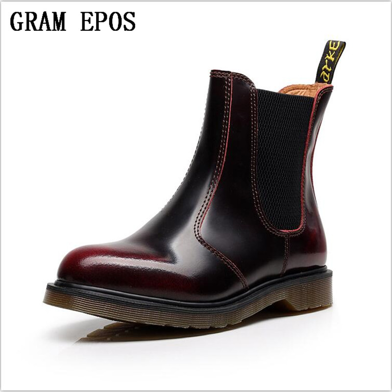 GRAM EPOS New Unisex Cowhide leather Winter Ankle Boots Men Ankle Snow Martin boots bot Male Autum bots army shoes Lovers boots