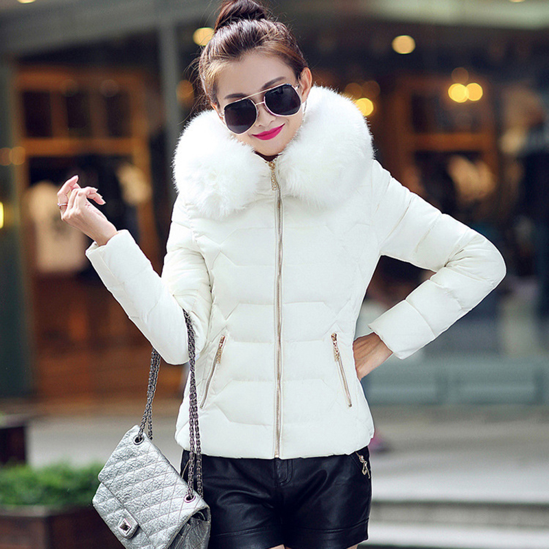 Winter Short Women Jacket Coat Cotton Warm Fur Hooded Parkas Women Outwear Zip Casual Fashion Black Warm Female Coats WT4583 6