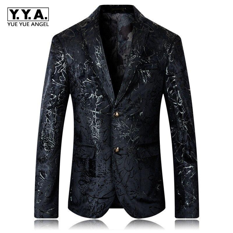 Haute qualité marque homme vêtements angleterre Style unique boutonnage impression décontracté hommes Blazer Slim Fit Blazer Masculino grande taille