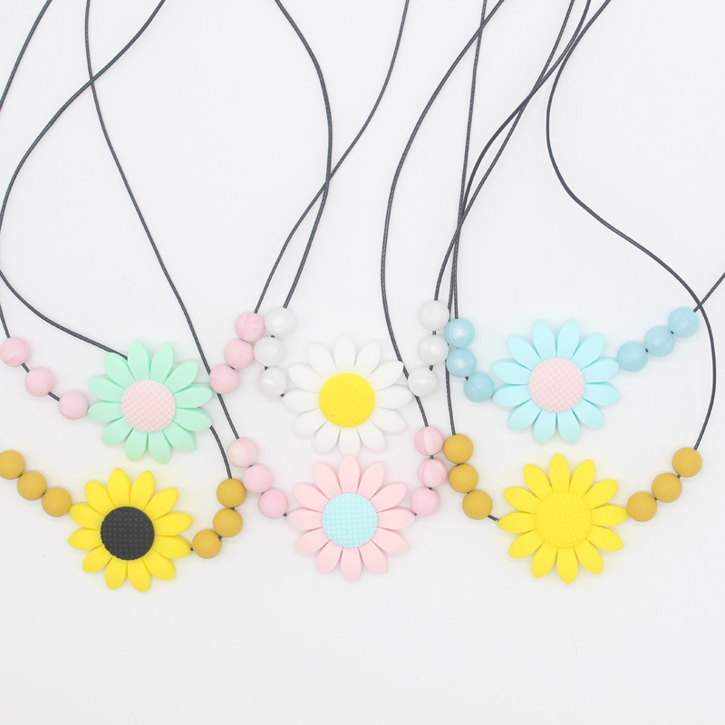 1pcs Silicone Flower Necklace Baby Teethers Food Grade Teething Beads Infant Chewable Necklaces BPA Free Newborn Teething Toys