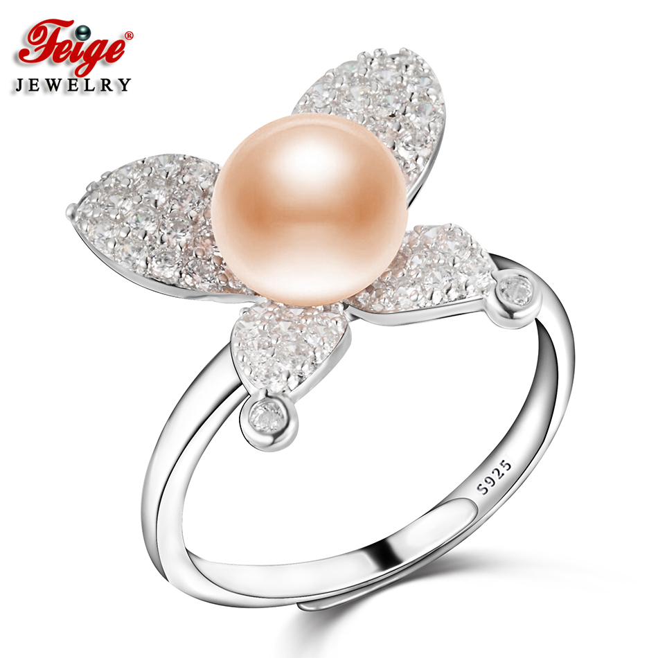 FEIGE High Quality Butterfly Ring 925 Sterling Silver Inlay Cubic Zirconia Rings for Women 7-8MM Pink Freshwater Pearl JewelryFEIGE High Quality Butterfly Ring 925 Sterling Silver Inlay Cubic Zirconia Rings for Women 7-8MM Pink Freshwater Pearl Jewelry