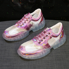Moxxy Transparent Leather Women Sneakers 2019 Clear Silver Pink Bling Platform Shoes Vulcanized chaussures femme